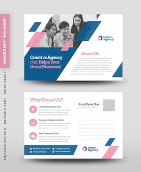 Korporacyjna pocztówka biznesowa lub karta z zaproszeniem do zapisywania daty lub bezpośrednia poczta eddm design