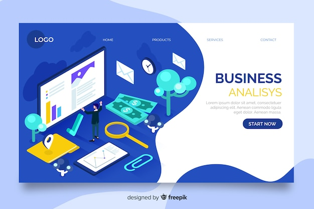 Korporacyjna strona docelowa analizy biznesowej