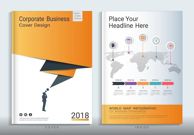 Korporacyjny biznes okładki książki szablon z plansza elementu