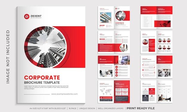 Korporacyjny czerwony kolor wielostronicowy układ szablonu broszury