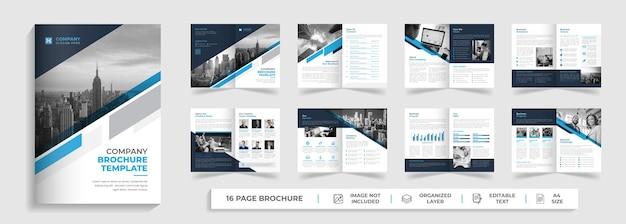 Korporacyjny nowoczesny 16-stronicowy bifold wielostronicowy szablon broszury o kreatywnym kształcie
