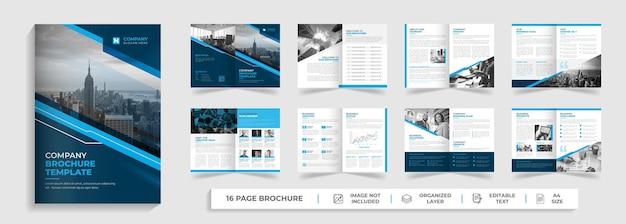 Korporacyjny nowoczesny profil firmy i wielostronicowy szablon broszury bifold z kreatywnymi kształtami