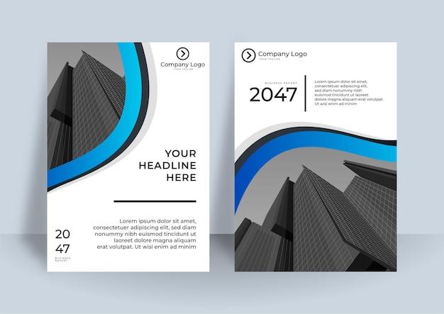 Korporacyjny projekt okładki lub tło szablonu broszury do projektowania biznesu szablon układu ulotki modern business w formacie a4. nowoczesny projekt okładki raport roczny z elementem niebieskiej fali