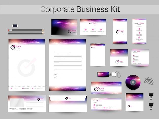 Korporacyjny zestaw biznesowy ze świecącymi falami.