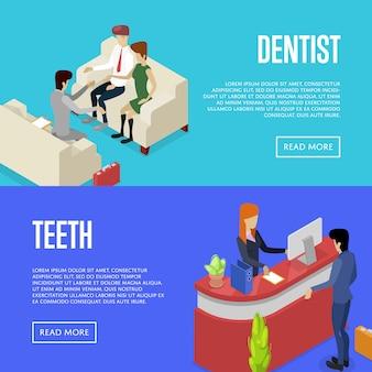 Korporacyjnych życie izometryczny 3d banner web set