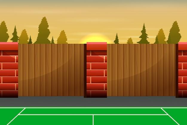 Kort tenisowy na zewnątrz z drewnianym płotem