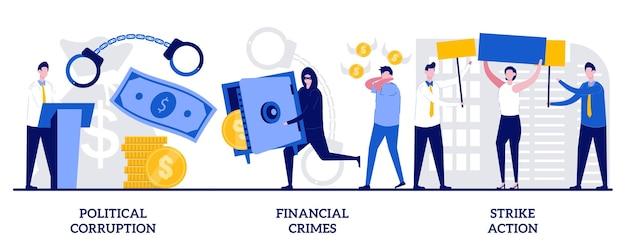 Korupcja polityczna, przestępstwa finansowe, koncepcja strajku z małymi ludźmi. nieuczciwy rząd streszczenie wektor zestaw ilustracji. pranie pieniędzy, metafora demonstracji społecznej.