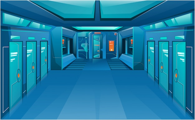 Korytarz statku kosmicznego z zamkniętymi drzwiami.