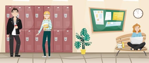 Korytarz szkolny z szafkami na książki i ubrania.
