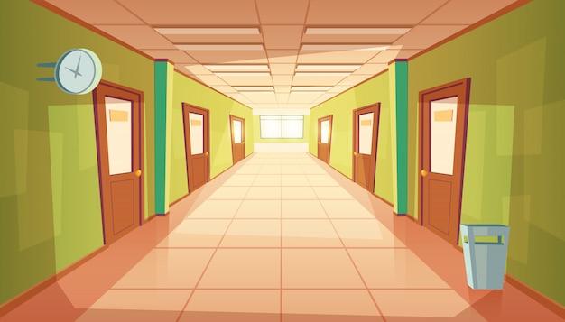 Korytarz szkoły kreskówki z okna i wiele drzwi.