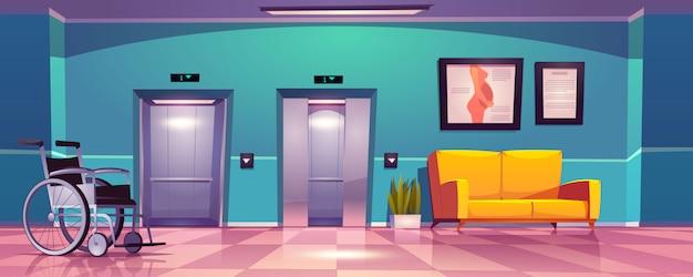 Korytarz szpitalny z otwartymi drzwiami windy, żółtą sofą i wózkiem inwalidzkim.
