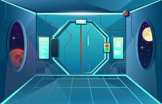 Korytarz w statku kosmicznym z iluminatorem i kamerą. futurystyczny pokój z drzwiami do gier i aplikacji