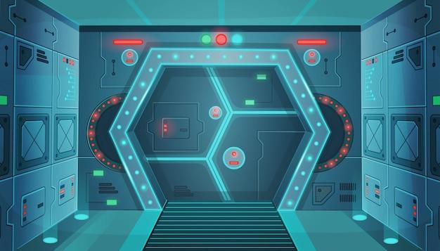 Korytarz z drzwiami w statku kosmicznym. kreskówka tło wnętrze pokoju sci-fi statek kosmiczny. tło dla gier i aplikacji mobilnych.