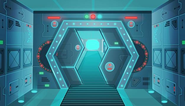 Korytarz z drzwiami w statku kosmicznym. wektor kreskówka wnętrze pokoju sci-fi.