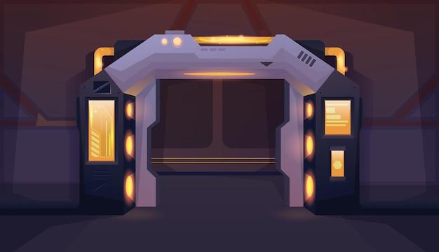 Korytarz z otwartymi drzwiami statku kosmicznego z żółtym tłem lampy do gier i aplikacji mobilnych