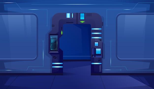 Korytarz z otwartymi niebieskimi drzwiami w futurystycznym wnętrzu statku kosmicznego
