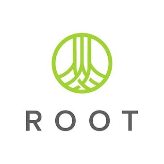 Korzeń z okrągłym pierścieniem zarys prosty nowoczesny wektor projektowania logo