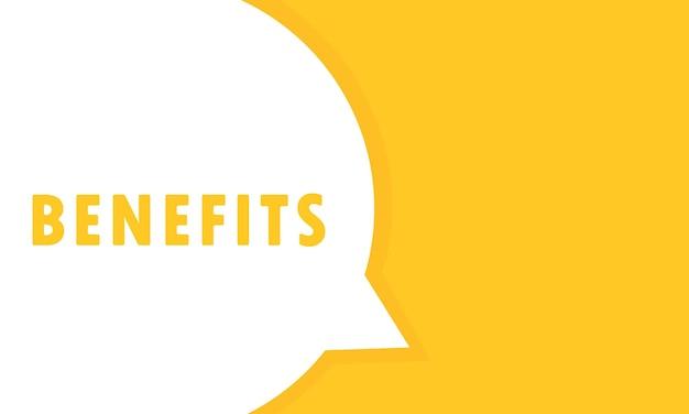 Korzyści baner mowy bańka. może być używany w biznesie, marketingu i reklamie. wektor eps 10. na białym tle.