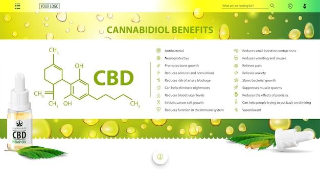 Korzyści z kanabidiolu, zielony i biały plakat na stronę internetową