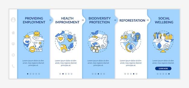 Korzyści z kompensacji emisji dwutlenku węgla szablon wektora wprowadzającego. responsywna strona mobilna z ikonami. przewodnik po stronie internetowej 5 ekranów krokowych. koncepcja kolorów ochrony bioróżnorodności z liniowymi ilustracjami