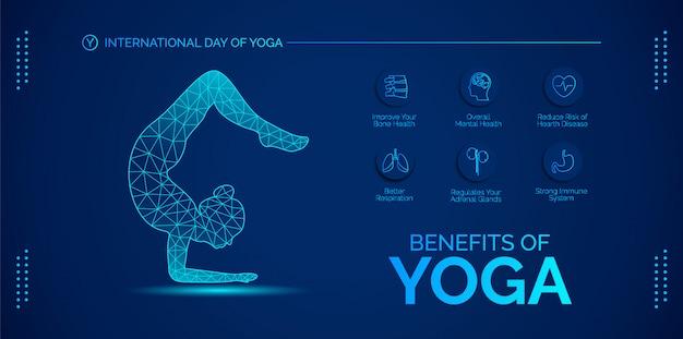 Korzyści z projektowania jogi. projektuj wektory dla banerów, tła, plakatów lub kart.
