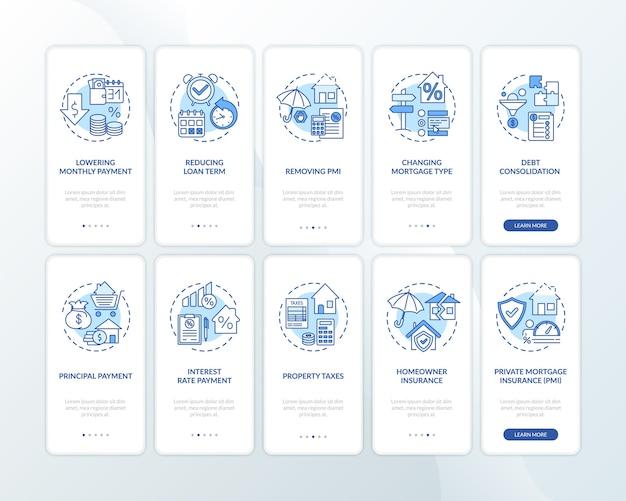 Korzyści z refinansowania pożyczki na ekranie aplikacji mobilnej z ustawionymi koncepcjami