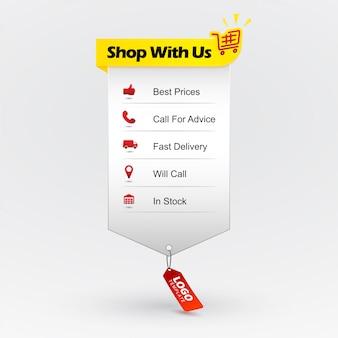 Korzyści z zakupu. zakupy online. element projektowanie stron internetowych pokazujący zalety zakupów. najlepsza cena, zadzwoń po poradę, szybka dostawa, zadzwonię, na stanie