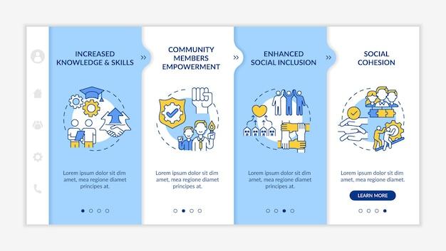 Korzyści związane z rozwojem jednostki społecznej onboarding vector template. responsywna strona mobilna z ikonami. przewodnik po stronie internetowej 4 ekrany kroków. zwiększona koncepcja kolorów wiedzy z liniowymi ilustracjami
