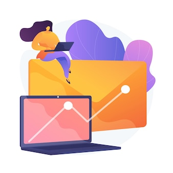 Korzystna kampania promocyjna newslettera. e-mail, internet, marketing. wykres wzrostu na ekranie komputera. skuteczna strategia reklamowa.