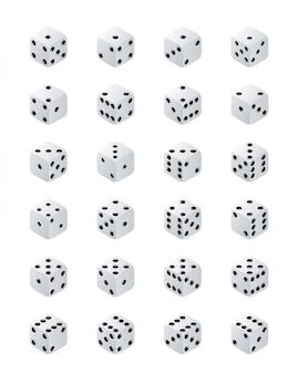 Kości izometryczne. warianty białe gry kostki na przezroczystym tle. białe kostki pokera na białym tle