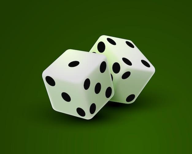 Kości kasyna na zielonym tle, szablon elementu projektu. ilustracja wektorowa