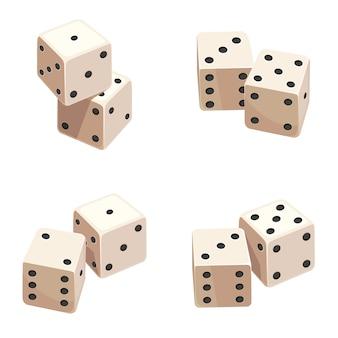 Kości pod różnymi kątami. przedmioty gier hazardowych.