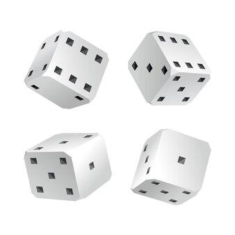 Kości - realistyczne białe kostki z losowymi liczbami czarnych kropek lub pestek i zaokrąglonymi krawędziami. wektor kostki gry na białym tle. izolowane obiekty 3d dla hobby.