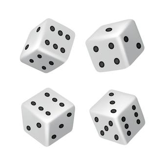 Kości - realistyczne białe kostki z losowymi liczbami czarnych kropek lub pestek i zaokrąglonymi krawędziami. wektor kostki gry na białym tle. izolowane obiekty 3d dla hobby