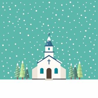 Kościół płaski w sezonie zimowym. ilustracja