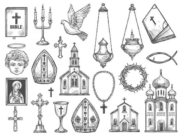 Kościół religii chrześcijańskiej, biblia, ikona boga, krzyż