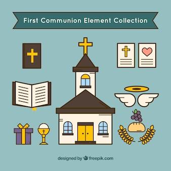 Kościół z elementami religijnymi