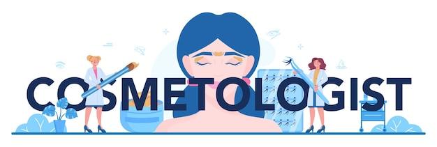 Kosmetolog typograficzna ilustracja nagłówka w stylu cartoon