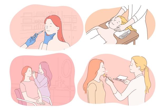 Kosmetologia, dermatologia, makijaż, masaż, koncepcja pielęgnacji skóry. młode kobiety postaci z kreskówek coraz