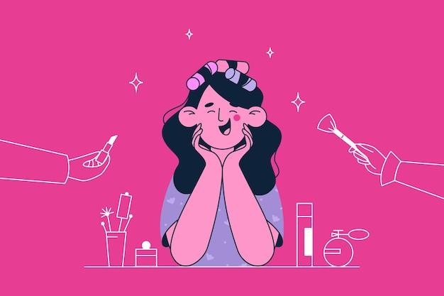 Kosmetyczka lub kosmetolog i ilustracja makijaż