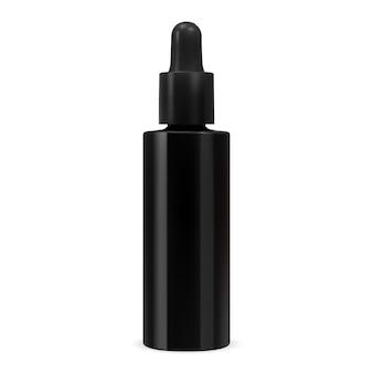Kosmetyczna butelka na serum czarna szklana kolba z zakraplaczem makieta pojemnika z kroplomierzem olejku eterycznego