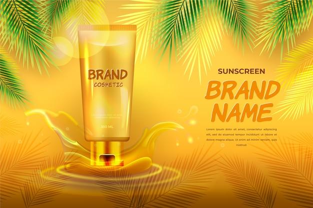 Kosmetyczna reklama z filtrem przeciwsłonecznym