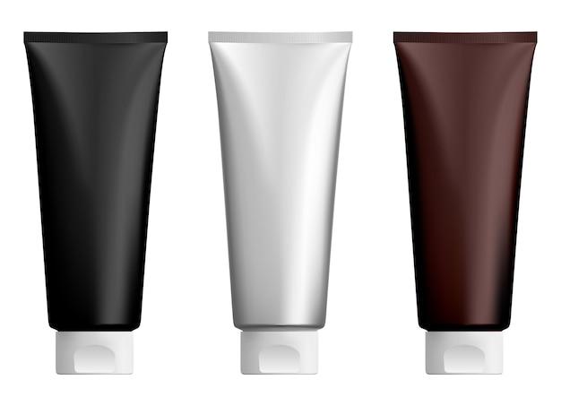 Kosmetyczna tubka z kremem makieta plastikowych tubek z balsamem twarz butelki z żelem do rąk, realistyczne opakowanie miękkiej pasty do zębów