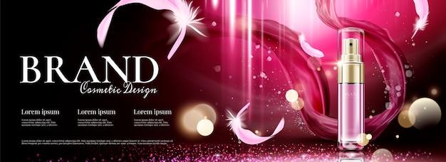 Kosmetyczne banery reklamowe z latającym szyfonem i piórami