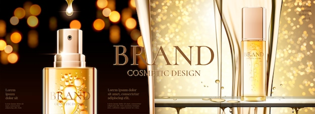 Kosmetyczne banery reklamowe ze złotą butelką ze sprayem i błyszczącym tłem bokeh