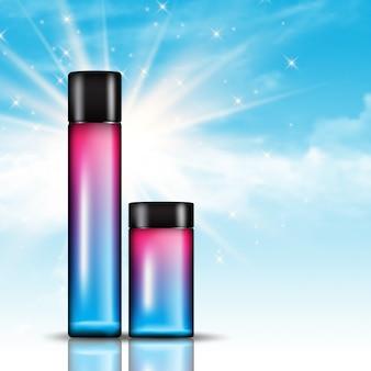 Kosmetyczne butelki na niebieskiego nieba tle