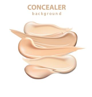 Kosmetyczny korektor rozmazuje pociągnięcia na białym tle, krem tonujący rozmazany