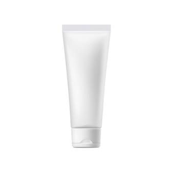 Kosmetyczny krem lub żel pusta biała plastikowa tubka, realistyczna ilustracja wektorowa na białym tle. szablon opakowania produktu kosmetycznego.