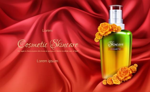 Kosmetyki damskie 3d realistyczny wektor banner reklamowy lub kosmetyczny plakat promocyjny.