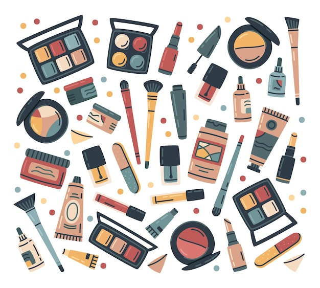 Kosmetyki do makijażu kosmetyki do pielęgnacji twarzy i ciała wektor zestaw